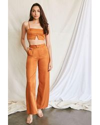 Forever 21 Cropped Cami & Wide-leg Pants Set - Brown