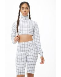 Forever 21 Grid Print Crop Top & Shorts Set , White