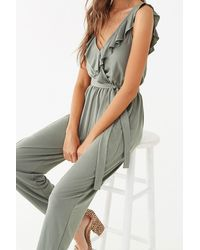 Forever 21 Ruffle-trim Surplice Jumpsuit , Olive - Green