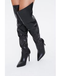 Forever 21 Over-the-knee Stiletto Boots - Black