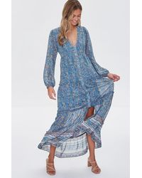 Forever 21 Floral Print Maxi Dress - Blue