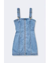 Forever 21 Zip-front Denim Overall Dress - Blue