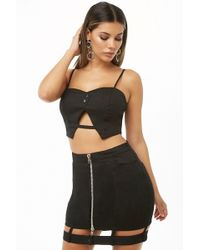 Forever 21 Denim Cropped Cami & Caged Mini Skirt Set , Black