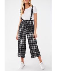 Forever 21 Abstract Print Suspender Pants , Black/cream