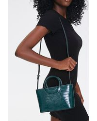 Forever 21 Faux Croc Leather Satchel In Green