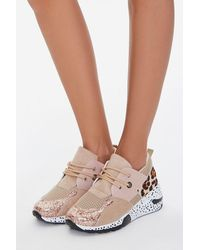 Forever 21 Glittered Low-top Sneakers In Rose Gold, Size 6 - Pink