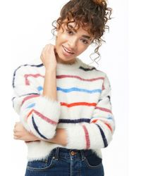 Forever 21 - Women's Fuzzy Striped Jumper Sweater - Lyst
