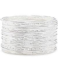 Forever 21 Women's Textured Bangle Bracelet Set - Metallic