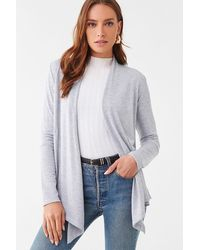 Forever 21 Shawl Open-front Cardigan - Gray
