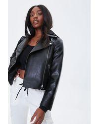 Forever 21 Hooded Moto Jacket - Black