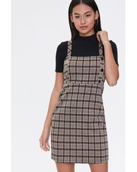 Forever 21 Plaid Pinafore Dress - Brown