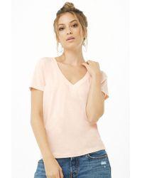 Forever 21 Basic V-neck Tee - Pink