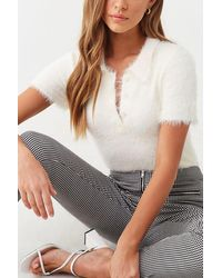 Forever 21 Fuzzy Sweater-knit Polo , Ivory - White