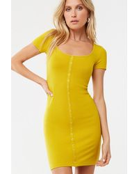 Forever 21 - Ribbed Snap-button Mini Dress , Citron - Lyst