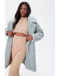 Forever 21 Faux Shearling Longline Co - Blue