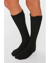 Forever 21 Cable Knit Knee-high Socks - Black