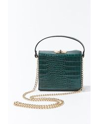 Forever 21 Faux Croc Leather Crossbody Bag - Green