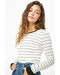 Forever 21 - Striped Cropped Long Sleeve Tee - Lyst