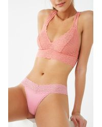 Forever 21 Scalloped Lace Thong Panty , Pink