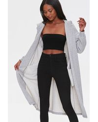 Forever 21 Hooded Longline Cardigan Sweater - Gray