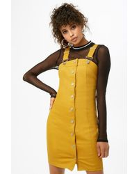 e5ea4aa2e Forever 21 - Denim Overall Button-front Mini Dress - Lyst