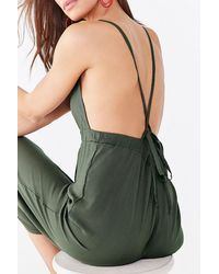 Forever 21 Cross-back Cami Jumpsuit - Green