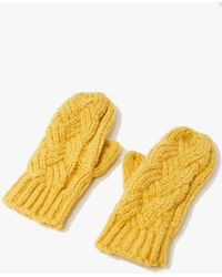 Forever 21 Cable Knit Mittens , Mustard - Yellow