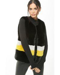 Forever 21 Shaci Striped Faux Fur Vest - Black