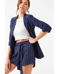 Forever 21 Pinstriped Blazer & Shorts Set , Navy/ivory - Blue