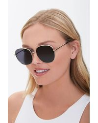 Forever 21 Round Metal Sunglasses In Gold/black