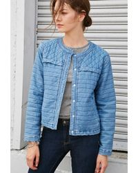 Forever 21 | Quilted Denim Boxy Jacket | Lyst