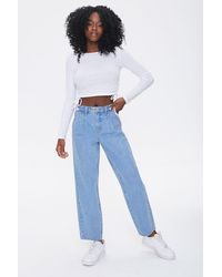 Forever 21 High-rise Mom Jeans In Light Denim, Size 30 - Blue