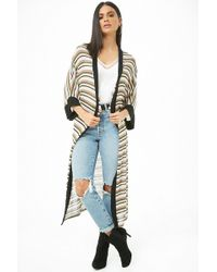 Forever 21 - Striped Waffle Knit Cardigan - Lyst