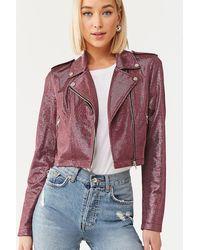 Forever 21 Metallic Zip-up Moto Jacket - Pink