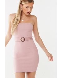 Forever 21 Belted Tube Dress - Pink