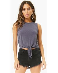 Forever 21 - Knotted French Terry Tank Top - Lyst