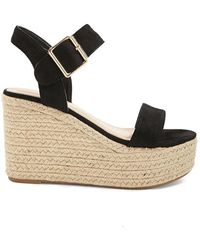 4c6522930bb Lyst - Forever 21 Women s Faux Suede Espadrille Wedges in Black
