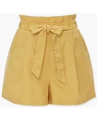 Forever 21 Paperbag Cargo Shorts - Yellow