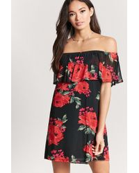 3487340f9792 Lyst - Forever 21 Flounce Off-the-shoulder Dress in Green