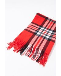 Forever 21 Plaid Oblong Scarf - Red