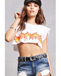 Forever 21 - Girl Power Crop Muscle Tee - Lyst