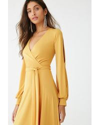 40475d742ba Forever 21 Belted Surplice Maxi Dress in Green - Lyst
