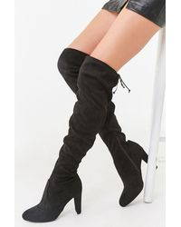 Forever 21 Faux Suede Over-the-knee Boots - Black
