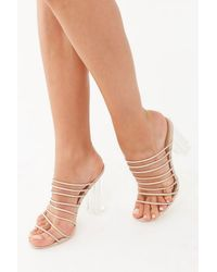 2b3b325a152 Forever 21 Ankle-wrap Lucite Heels in Natural - Lyst