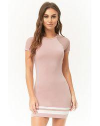 a9226ea67d2 Forever 21 - Varsity-striped T-shirt Dress - Lyst