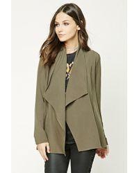 Forever 21 Asymmetrical Cowl Neck Jacket - Green