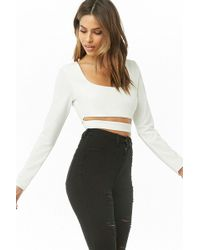 cd0c193ed972b Lyst - Forever 21 Women s Mock Button Off-the-shoulder Crop Top in White