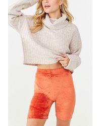 Forever 21 Velvet Knit Biker Shorts - Orange