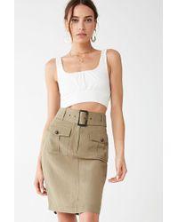 Forever 21 Linen-blend Knee-length Skirt , Light Olive - Green