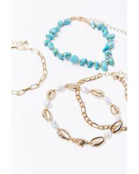 Forever 21 Faux Turquoise Bracelet Set - Metallic